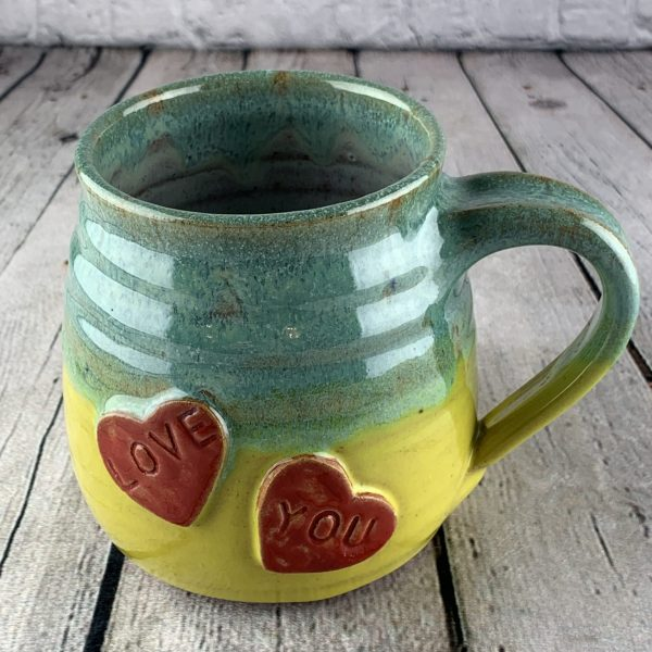 Chubby Heart Coffee Mug Large in Green / Yellow